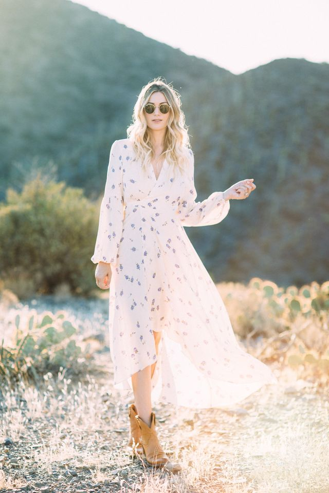 f1bcf893ba90 If your favorite color is floral and Kate Moss is your style icon, then you  will love the boho-meets-country-chic style of wearing cowgirl boots with a  ...