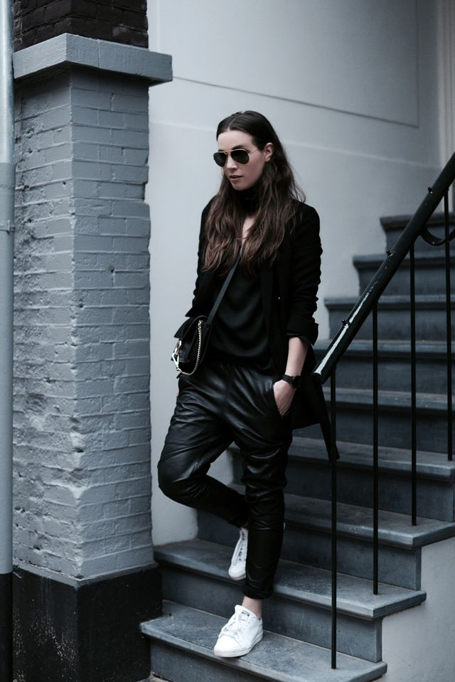 6af614a2 WEARING: GESTUZ LEATHER TRACK PANTS, HM TREND TOP, ZARA BLAZER, CHLOE FAYE  BAG AND ADIDAS STAN SMITH SNEAKERS