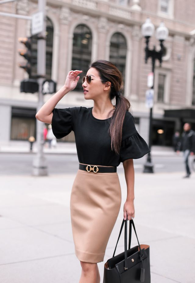 f759749649016d Fall work outfit // Camel wool skirt + bell sleeve top   Extra ...