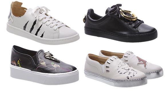 Da esquerda para direita, tênis inspirados em  Lady Tremaine, Malévola  (pretos) e Cruela de Vil f744d3e363