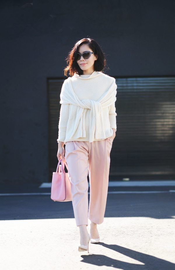 31dc5bf33a468 Easy Pairing  Cream Sweater and Cropped Wide-Leg Pants