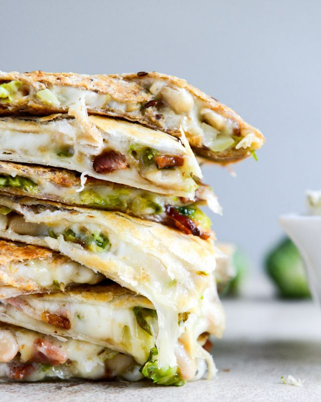 Brussels, Bacon + Bean Quesadillas, see more at http://homemaderecipes.com/healthy/18-brussel-sprout-recipes/