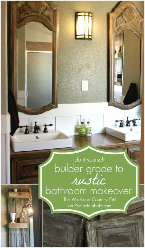 Rustic Bathroom Makeover with Board and Batten + Chandelier ...