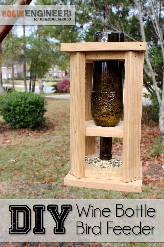Diy wine bottle bird feeder remodelaholic bloglovin for How to build a wooden bird feeder