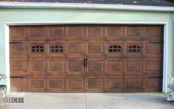 Faux wood carriage garage door tutorial remodelaholic Garage door faux wood