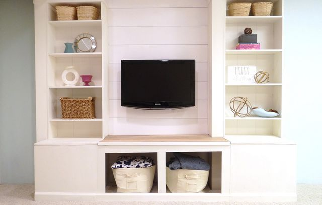 DIY Built-In Media Wall Unit with Extra Storage (From an IKEA ...