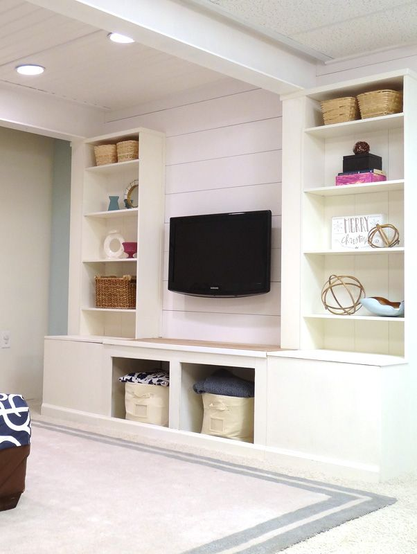 Diy Built In Media Wall Unit With Extra Storage From An
