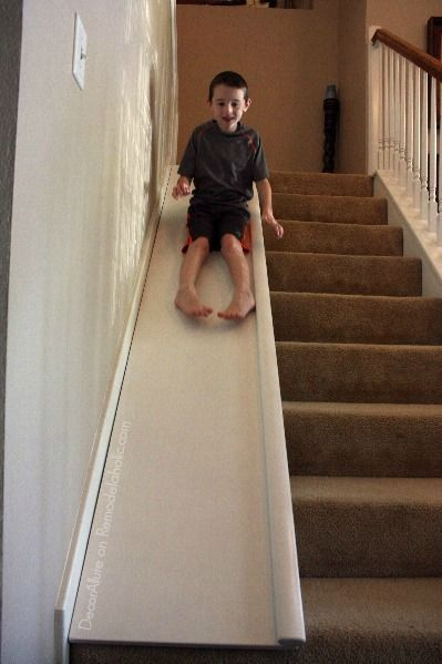 Enjoyable Wooden Steps. Read below for the details of Erin s simple DIY stair slide  and consider adding these other kid fun features to your home too they re only little a Stair Slide or How Add Your Stairs