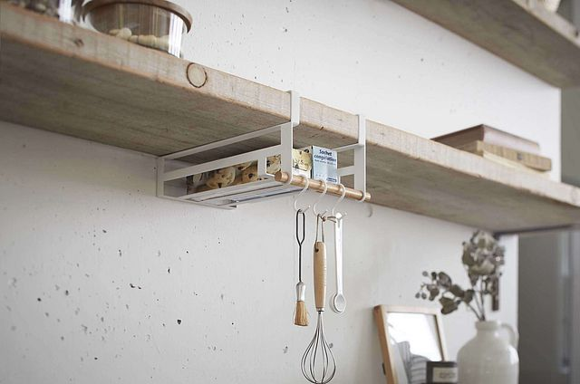 Low Cost Storage Solutions From Japanese Company Yamazaki With A Design That Rivals Muji The Racks And Baskets Make Use Of Unused Space In Kitchen