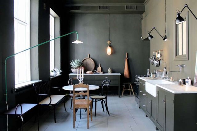 Above In A 2016 Pop Up Apartment Designed By Gothenburg Design Shop Artilleriet The Kitchen Featured Mismatched Dining Chairs Lampe Gras Lights