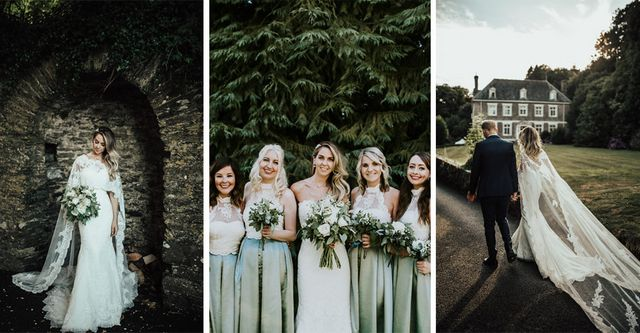 c2ad22d9b78f Capes are fast becoming my favourite bridal accessory. Bride Hollie's  Pronovias 'Oringo' lace bridal gown and matching cape in particular  literally floored ...