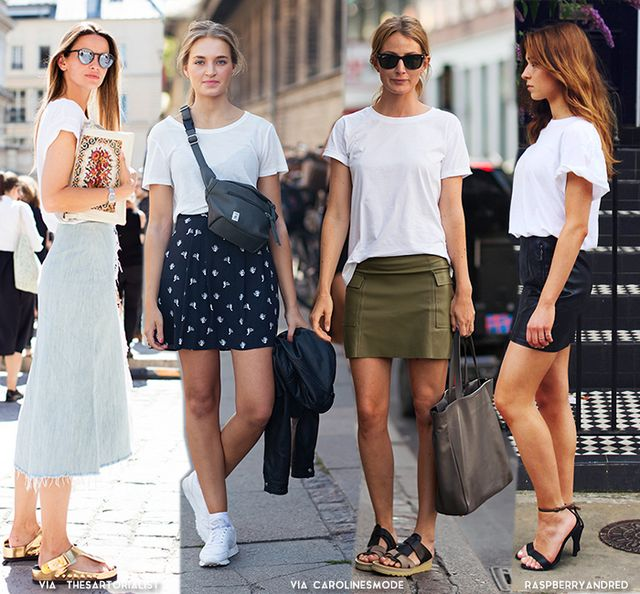 How to Wear a Basic T-shirt + Skirt  cf3e171465e