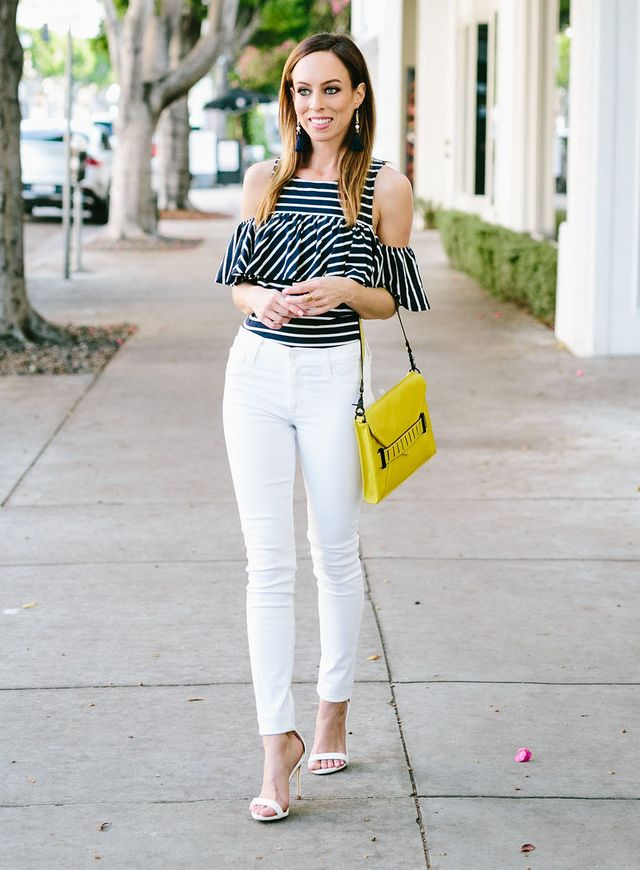 78276cea5ac The minute I saw this top I instantly fell in love. The cold shoulder,  ruffles and stripes fit in with three of the trends in my Spring Trend  Guide!