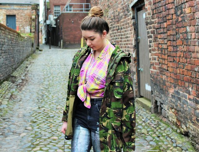 c97fd77f91ae3 Plaid shirt - Vintage (Depop) Camo jacket - Vintage (Depop) Crop top* -  Yoins Metallic mom jeans - The Ragged Priest Some people would cringe at  the thought ...