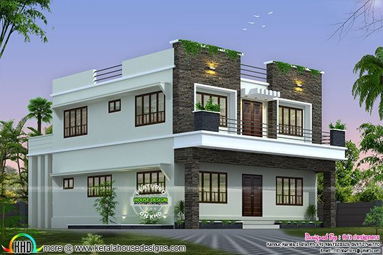 Front side and back view of box model home kerala home for Design of home front side