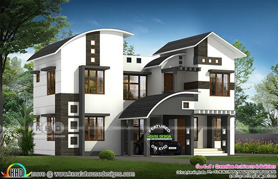 2711 Square Feet 4 Bedroom Curved Roof Mix Home Kerala Home Design Bloglovin