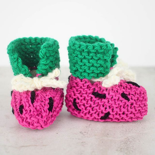 EASY Watermelon Baby Booties Free Knitting Pattern | Gina Michele ...