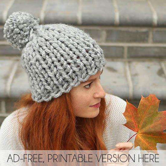 Flat Knit Super Chunky Hat Free Knitting Pattern Gina Michele