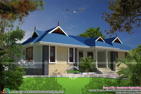 4 bedroom 1820 sq-ft sloping roof house plan | Kerala home