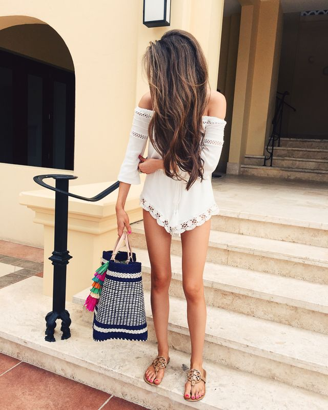 lace romper (wearing size XS) // tassel beach bag // Tory Burch sandals (in  sand patent)