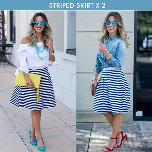 93081b14dcb1 LOOK  1    A-line Striped Skirt 00P