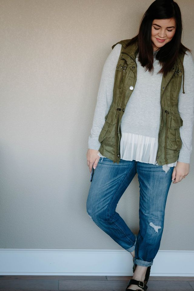 1f1c8ce68534b Sweater: Nordstrom (it has an open back and is REALLY maternity friendly!  find it here) vest: Forever 21 jeans: Motherhood Maternity sandals:  Birkenstock ...