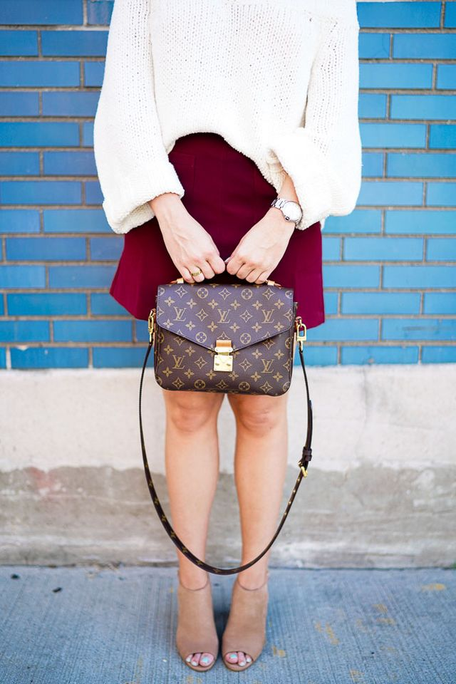 ccd104a8e6 Free People: Off the Shoulder Sweater (also HERE) / Lush: A-Line Mini Skirt  / Steve Madden: Nude Booties (also here) / Louis Vuitton: Pochette Metis ...