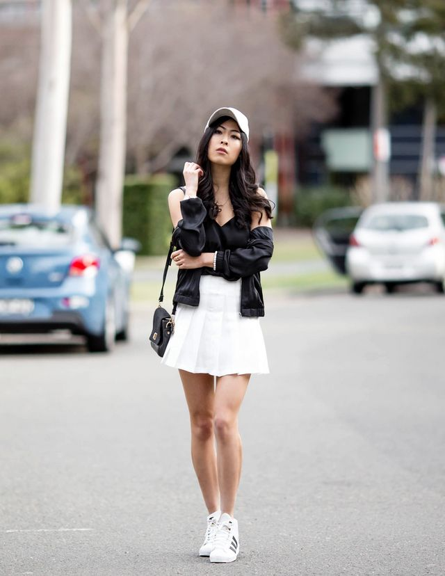 c846610ad3 black silky cami  c o Glassons silk look bomber jacket  c o Glassons  (currently sold out) suede look cap  Boohoo pleated white skirt  Gmarket