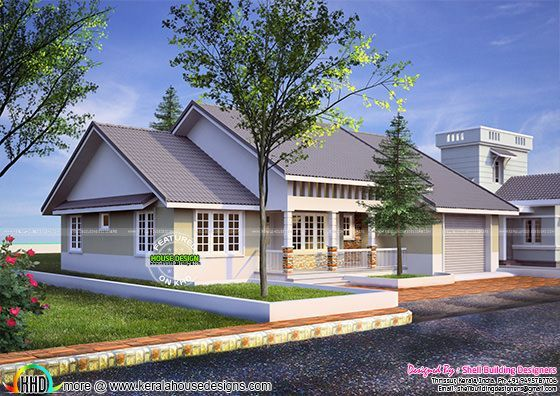 American style 1590 sq ft home kerala home design for American house styles roof