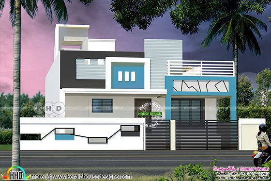 Single floor south indian style 1100 square feet home for South indian home images