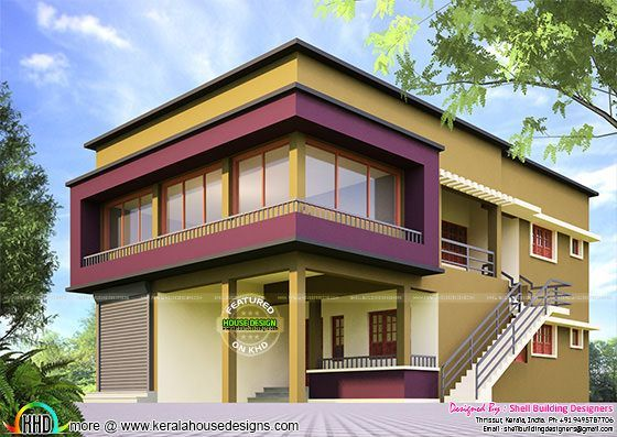 House with shop elevation design kerala home design for Terrace elevation designs