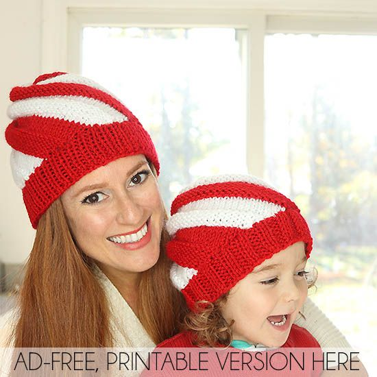 Easy Candy Cane Swirl Hats Free Knitting Pattern- women and