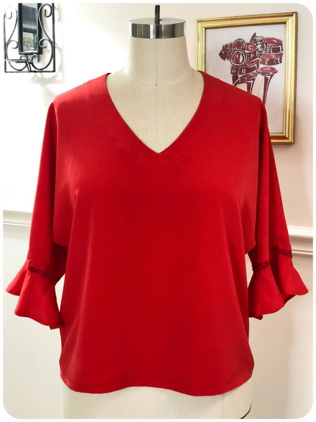 0856fc7b0a It s a really simple v-neck pullover top with cut in sleeves. I cut the  size 14