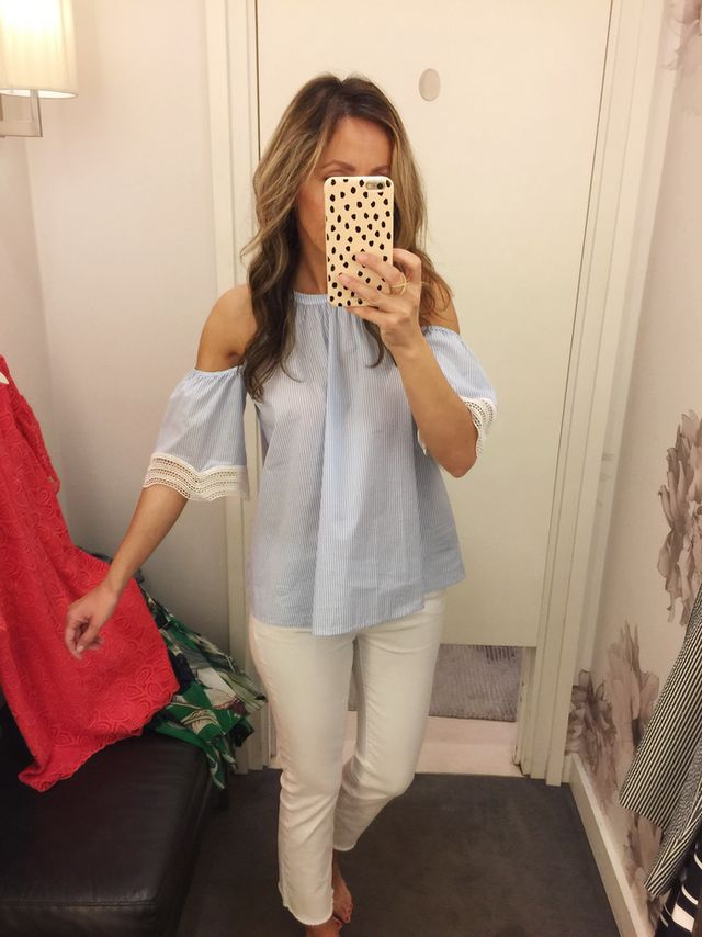 b247de87ab74 Cold Shoulder blouse - in xs Super cute but I didn t like it on me. It s  light...borderline sheer but with a nude bra it would look ok.