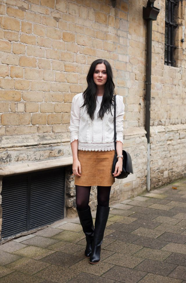 7443667703ea Outfit: Edwardian blouse, suede skirt, knee boots | The Styling ...