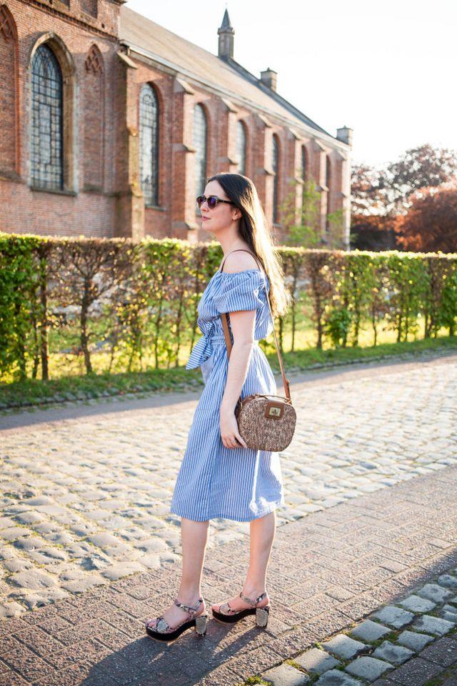 94a47e4e Outfit: Zara off-shoulder dress, Zinda platform sandals | The ...