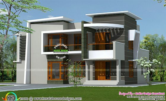 2285 square feet contemporary mix modern home kerala for Home outlook design
