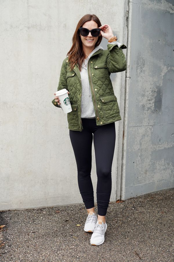 df9dc6dfabd19 Pieces like these leggings and sneakers are great to pair with a casual  hoodie and quilted jackets for cool days running errands, getting chores  done around ...