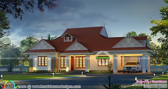 Excellent single floor bungalow | Kerala home design | Bloglovin' on studio home designs, pyramid home designs, square home designs, dome home designs, gambrel home designs, gable roof home designs, post and beam home designs, hipped roof home designs, vertical home designs, polygon home designs,