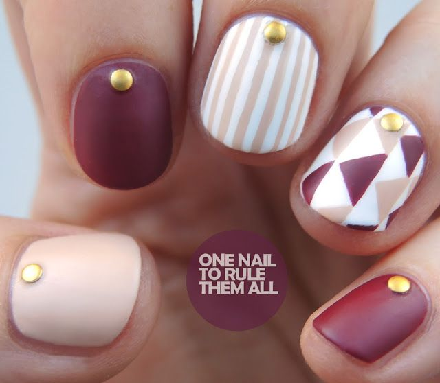 Burgundy Geometric Stripes Nail Art One Nail To Rule Them All