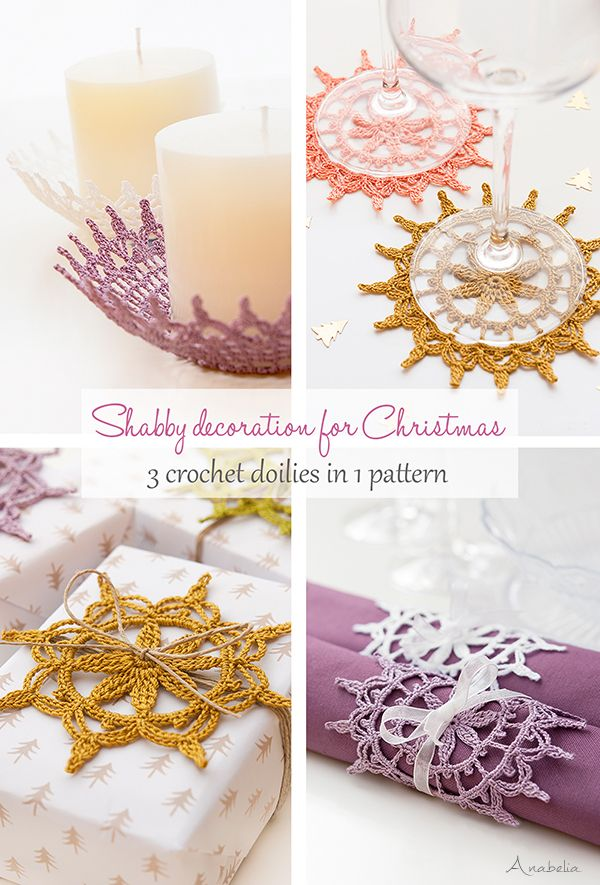 Shabby decoration for Christmas, 3 crochet doilies in 1 pattern ...