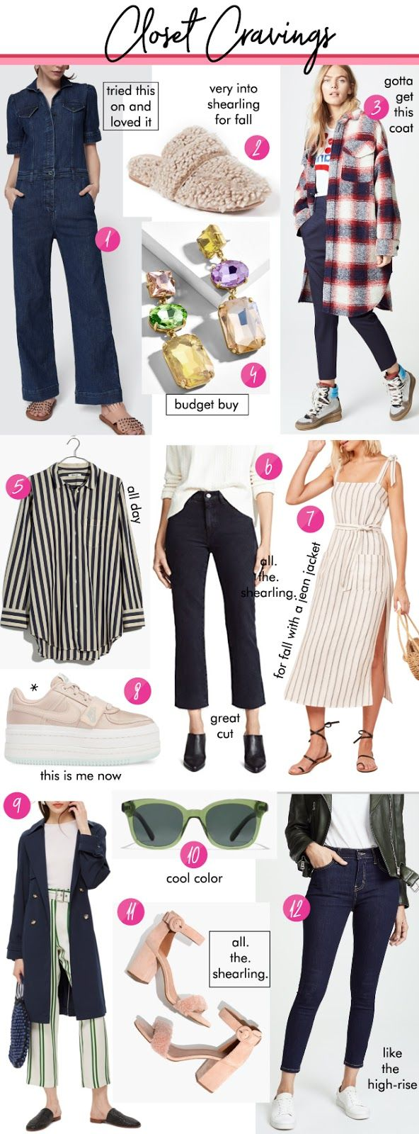 155ff986a05 1- denim jumpsuit goop    2 - shearling loafer shopbop   3 - Isabel marant  coat shopbop    4 - earrings baublebar    5 - striped blouse madewell    6  ...