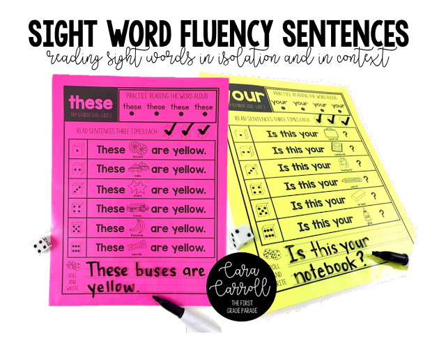 5 tips for teaching sight words how to make them stick the predictable sight word fluency sentences the idea behind this activity is to identify the word read it in isolation and then read it in context three fandeluxe Images