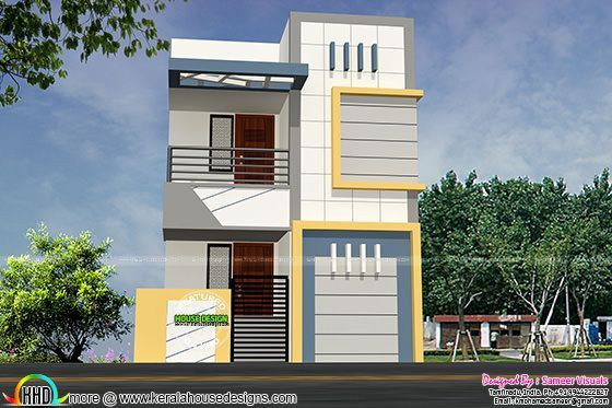 16 feet width house plan architecture kerala home design for Small house outer design