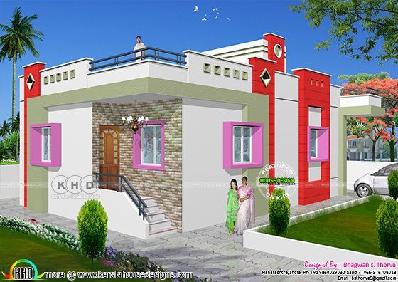1 Bhk Low Cost North Indian Home Design