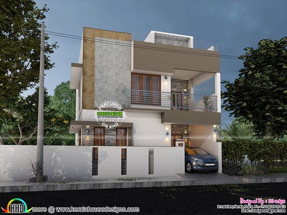 Modern elevation with blueprint kerala home design bloglovin modern elevation with blueprint malvernweather Image collections