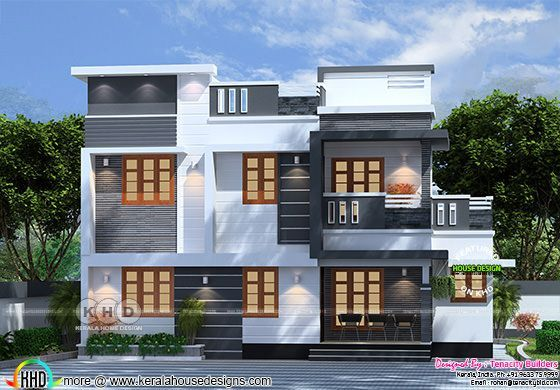 4 Bedroom Flat Roof Box Model Home Plan Kerala
