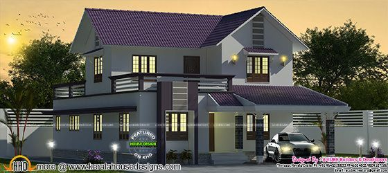 Purple Colored 2019 Sq Ft Sloping Roof House Kerala Home