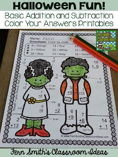 Halloween Fun Basic Addition And Subtraction