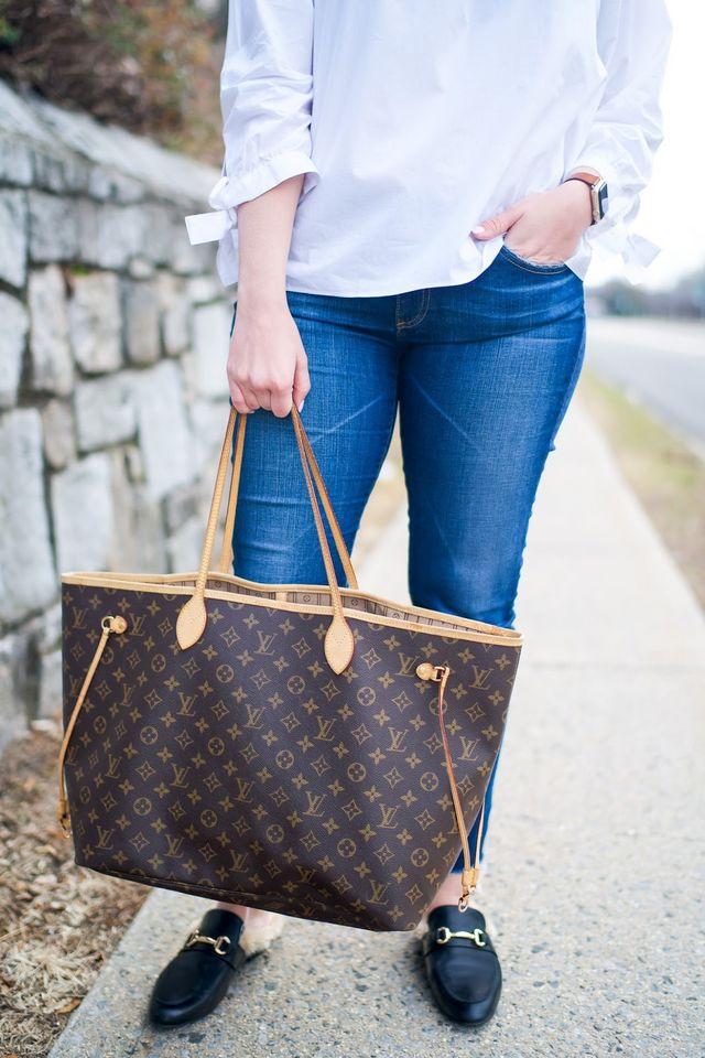 c3ca2242ec Madewell: Tie Sleeve Blouse / AG: Raw Hem Jeans / Steve Madden: Backless  Loafers / Nordstrom: Pearl Earrings / Louis Vuitton: Neverfull / Smashbox:  Liquid ...